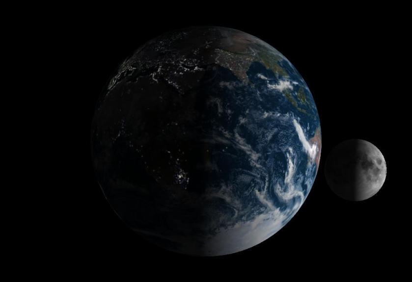 Terre et Lune croissante